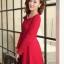 ชุดเดรสทำงานสวยๆ สีแดง คอกลม แขนยาว เนื้อผ้าดี ,S M L XL thumbnail 4