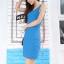 ชุดเดรสสั้นสีฟ้า แขนกุด คอกลม ทรงเข้ารูป สวยหรู thumbnail 1