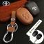 ซองหนังแท้ ใส่กุญแจรีโมทรถยนต์ รุ่นดอกกุญแจโลโก้เหล็ก Toyota New Vios,Yaris 2 ปุ่ม thumbnail 1