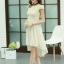 ชุดเดรสออกงานสวยๆ ชุดเดรสสั้น สีเบจ ผ้าชีฟอง ใส่ไปงานแต่งงาน ออกงานเลี้ยง ให้ลุคสาวหวานสไตล์เกาหลี สวยหรู ดูดี ( S M L XL ) thumbnail 3