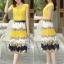 ชุดเดรสยาวสีเหลือง กระโปรงพิมพ์ลายดอกไม้ ผ้าชีอง เสื้อแขนสั้น คอกลม แนวหวาน thumbnail 4