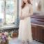 ชุดไปงานแต่งงาน ชุดออกงาน สีครีมเบจ เดรสยาว i ลูกไม้แขนสามส่วน สวยๆ เรียบหรู เกรดพรีเมี่ยม A+