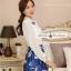ชุดเดรสสั้นโทนสีฟ้าขาวสวยๆ สไตล์เกาหลี เสื้อเชิ้ตคอปกประดับคริสตัล แขนยาว เย็บต่อด้วยกระโปรงสีน้ำเงินพิมพ์ลายนกสวยเก๋ ใส่เที่ยว ใส่ทำงานได้ thumbnail 6
