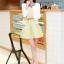 ชุดทำงานแฟชั่นเกาหลีสวยๆ ชุดทำงานออฟฟิศ ชุดเซ็ท 2 ชิ้น เสื้อคลุม + มินิเดรสสั้นสีเหลือง ผ้า Jacquard ( S,M,L,XL ) thumbnail 3