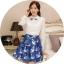 ชุดเดรสสั้นโทนสีฟ้าขาวสวยๆ สไตล์เกาหลี เสื้อเชิ้ตคอปกประดับคริสตัล แขนยาว เย็บต่อด้วยกระโปรงสีน้ำเงินพิมพ์ลายนกสวยเก๋ ใส่เที่ยว ใส่ทำงานได้ thumbnail 1