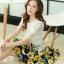 ชุดเดรสสั้นลายดอกไม้ เสื้อผ้าลูกไม้สีขาว เย็บต่อด้วยกระโปรงสั้นลายดอกไม้สีเหลือง เป็นชุดเดรสแฟชั่นน่ารักๆ สไตล์เกาหลี ( S,M,L,XL,) thumbnail 8