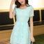 ชุดเดรสลูกไม้สีเขียว คอกลม แขนสั้น แนวเกาหลี สวยหวาน น่ารักๆ thumbnail 3