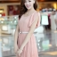 ชุดเดรสทำงาน แฟชั่นเกาหลี สีชมพู ผ้าชีฟอง คอกลม แขนระบาย เอวยืด กระโปรงอัดพลีท S M L thumbnail 1