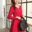 ชุดเดรสทำงานสวยๆ สีแดง คอกลม แขนยาว เนื้อผ้าดี ,S M L XL thumbnail 6