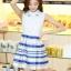ชุดออกงานสวยๆแฟชั่นเกาหลี สีน้ำเงิน ผ้าลูกไม้ เหมาะกับการใส่ทำงาน หรือจะใส่ออกงาน ไปงานแต่งงานก็ได้ จะให้ลุคที่สวยสง่า thumbnail 3