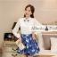 ชุดเดรสสั้นโทนสีฟ้าขาวสวยๆ สไตล์เกาหลี เสื้อเชิ้ตคอปกประดับคริสตัล แขนยาว เย็บต่อด้วยกระโปรงสีน้ำเงินพิมพ์ลายนกสวยเก๋ ใส่เที่ยว ใส่ทำงานได้ thumbnail 5