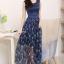 ชุดเดรสยาวสีน้ำเงินกรมท่า แขนกุด กระโปรงลายดอกไม้ผ้าชีฟองสวยพลิ้ว แนวเกาหลี สวยหวาน ดูดี thumbnail 1