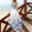 ชุดเดรสยาวสีขาว พิมพ์ลายดอกไม้สีน้ำเงิน ผ้าชีฟอง แขนกุด คอกลม ใส่ไปเที่ยวทะเล thumbnail 1