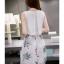 ชุดเดรสสีขาวกระโปรงลายใบไม้สีเขียว แขนกุด แนวเกาหลี ลุคสาวสวยหวานน่ารัก ดูสดใส thumbnail 2