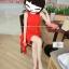 """รองเท้าส้นสูง ส้นแหลม หนังเรียบ สไตล์เกาหลี """"ทรง ZARA"""" สี แดง - ดำ (Pre) thumbnail 8"""