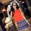 ชุดเซตเสื้อ-กระโปรงโทนสีส้มแนวเกาหลี เสื้อสีส้มแขนกุด + กระโปรงสั้นทรงเอพิมพ์ลายสวยๆ thumbnail 1