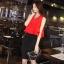 ชุดเชตเสองชิ้นเข้าชุด เสื้อ กระโปรง โทนสีแดง ดำ เรียบๆ ดูดี สไตล์แฟชั่นเกาหลี thumbnail 1