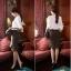 เสื้อทำงานแฟชั่นสไตล์เกาหลีสวยๆ เสื้อแขนยาวสีขาว คอปกลูกไม้สีดำเก๋ๆ ผ้าชีฟอง กระดุมผ่าหน้า thumbnail 7