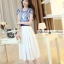 ชุดเดรสยาวสวยหรู โทนสีน้ำเงินขาว ปักลายสวยเก๋ เอวคาด กระโปรงสีขาวผ้าชีฟอง thumbnail 9