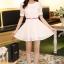 ชุดทำงานแฟชั่นเกาหลี มินิเดรสสวยๆ ชุดประโปรงสั้น คอปก แขนสั้น ผ้า organza สีขาว ( S M L XL ) thumbnail 9