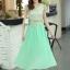 ชุดเดรสยาวสวยๆ สีเขียว เสื้อผ้าลูกไม้อย่างดีเย็บต่อด้วยกระโปรงผ้าชีฟอง ใส่ไปงานแต่งงาน ออกงานเลี้ยง ให้ลุคสวยหรู ดูดี S M L XL thumbnail 17