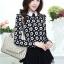 เสื้อทำงานสวยๆแฟชั่นเกาหลี เสื้อเชิ้ตสีดำ ลายดอกไม้ แขนยาว ปลายเสื้อแต่งระบาย ผ้าโพลีเอสเตอร์, S M L thumbnail 5
