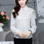 เสื้อทำงานแฟชั่นเกาหลี เรียบหรู ดูดี เสื้อเชิ้ตสีขาว แขนยาว คอปก ผ้าชีฟอง + ลูกไม้ , S M L XL thumbnail 10