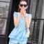 ชุดเซ็ทสองชิ้นเข้าชุดสีฟ้า สวยหรู ดูดี แฟชั่นสไตล์เกาหลี thumbnail 1