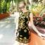ชุดเดรสสั้นสีดำ ปักลายสวยเก๋สีทอง ทรงตรงเข้ารูป แขนกุด สวยดูดีสไตล์เกาหลี thumbnail 1