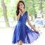 ชุดเดรสสั้นสีน้ำเงิน แขนกุด คอวี ผ้าชีฟอง ใส่ออกงาน ก็สวยเก๋ thumbnail 2