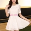 ชุดทำงานแฟชั่นเกาหลี มินิเดรสสวยๆ ชุดประโปรงสั้น คอปก แขนสั้น ผ้า organza สีขาว ( S M L XL ) thumbnail 2