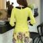 ชุดเดรสทำงาน แนวสวยหวานน่ารัก สีเหลือง คอปก แขนสี่ส่วน เอวเข้ารูป กระโปรงลายดอกไม้ S M L XL thumbnail 5