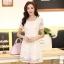 ชุดเดรสลูกไม้สีขาว คอกลม แขนสั้น แนวเกาหลี สวยหวาน น่ารักๆ