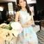 ชุดเดรสสั้นน่ารักสีฟ้า ลายดอกไม้ สวยหวานสไตล์สาวเกาหลี thumbnail 2
