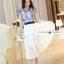ชุดเดรสยาวสวยหรู โทนสีน้ำเงินขาว ปักลายสวยเก๋ เอวคาด กระโปรงสีขาวผ้าชีฟอง thumbnail 3