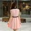 ชุดเดรสทำงานสวยๆ สีชมพู ผ้าชีฟอง คอปก แขนกุด เอวสาดรูดปรับขนาดได้ กระโปรงบานทรงสวิง ซับใน สำเนา thumbnail 2
