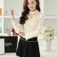 เสื้อทำงานแฟชั่นเกาหลี สีเบจ คอเต๋า แขนยาว ผ้าชีฟอง+ลูกไม้ , M L XL thumbnail 6