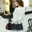 เสื้อแฟชั่นเกาหลีน่ารักๆ เสื้อแขนยาวลูกไม้ สีขาว ขาว คอกลม ปลายเสื้อแต่งด้วยผ้าแก้ว, S M L thumbnail 6