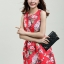 ชุดแซกกระโปรงใส่ทำงาน สีแดง พิมพ์ลายดอกซากุระ ผ้าคอลตอลอัดลายดอกไม้ ซิปหลัง , thumbnail 6