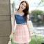 ชุดเดรสสั้นแฟชั่นเกาหลี สีชมพู เสื้อแต่งเป็นผ้ายีนส์เย็บต่อด้วยกระโปรงผ้าแก้ว เป็นชุดเดรสแนวหวานน่ารัก สวย เรียบร้อย ดูดี ( S M L XL ) thumbnail 1