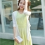 ชุดเดรสยาวสีเหลือง แขนกุด คอวี ผ้าชีฟอง เอวยืด มีซับใน เรียบหรู thumbnail 3