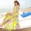 ชุดเดรสยาว แซกยาว ใส่ไปเที่ยวทะเลสวยๆ โทนสีเหลือง สายเดี่ยว พิมพ์ลายสวยๆ thumbnail 1