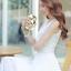ชุดเดรสยาวสีขาว แขนกุด คอวี ผ้าชีฟอง เอวยืด มีซับใน เรียบหรู thumbnail 3