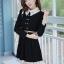 ชุดทำงานสวยๆ ชุดเดรสสั้น สีดำ คอปก แขนยาว ให้ลุคสาวหวานสไตล์เกาหลี สวยหรู ดูดี ( S M L ) thumbnail 5