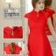 ชุดเดรสสั้นสีแดง คอจีน แขนสั้น สีพื้น เรียบๆ สวยดูดี ใส่ได้ทั้งเป็นชุดลำลองสวยๆ ชุดทำงานน่ารักๆ thumbnail 5