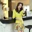 ชุดเดรสทำงาน แนวสวยหวานน่ารัก สีเหลือง คอปก แขนสี่ส่วน เอวเข้ารูป กระโปรงลายดอกไม้ S M L XL thumbnail 7