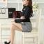 เสื้อทำงานแฟชั่นเกาหลี สีดำ คอเต๋า แขนยาว ผ้าชีฟอง+ลูกไม้ , M L XL thumbnail 6