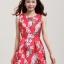 ชุดแซกกระโปรงใส่ทำงาน สีแดง พิมพ์ลายดอกซากุระ ผ้าคอลตอลอัดลายดอกไม้ ซิปหลัง , thumbnail 3