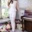 ชุดออกงาน/ชุดไปงานแต่งงานสวยๆ สีขาว เซ็ทเสื้อ+กางเกง ผ้าลูกไม้ สวยหวาน หรู เรียบๆ thumbnail 1