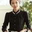 เสื้อทำงานแฟชั่นสไตล์เกาหลีสวยๆ เสื้อแขนยาวสีดำ ผ้าชีฟอง คอจีนประดับมุก ,เสื้อทำงานสวยๆราคาถูก